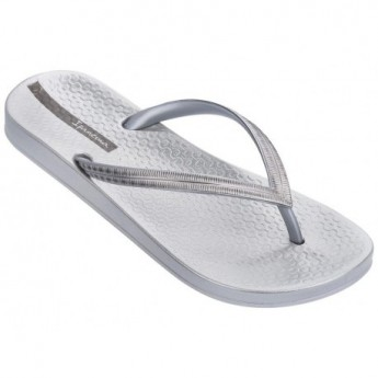 MESH IV silver flat open flip flops for woman