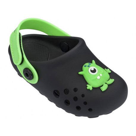 LUNAR black and green flat closed clogs for baby