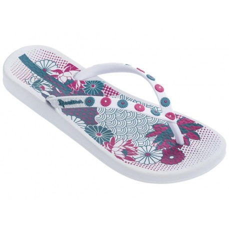 ANAT LOVELY VIII white floral print flat open flip flops for woman