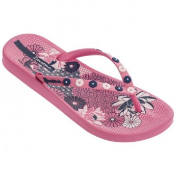 ANAT LOVELY VIII pink floral print flat open flip flops for woman