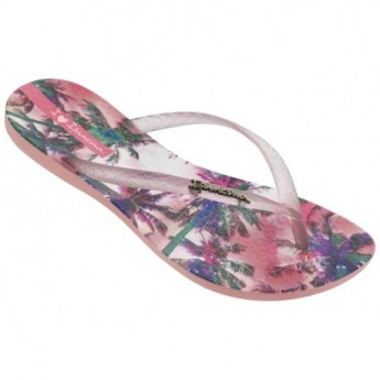 WAVE TROPICAL II multicolored tropical print flat open flip flops for woman