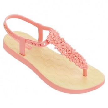 FLOWERS SAND yellow flat finger sandals for girl