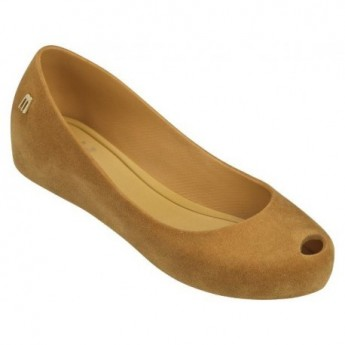 ULTRAGIRL FLOCKED brown flat closed ballet flats for girl