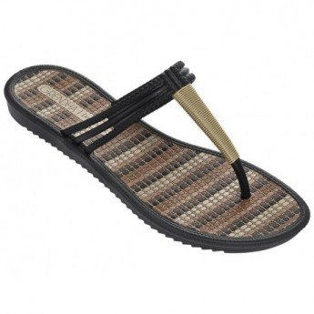 RIVIERA II black flat finger sandals for woman