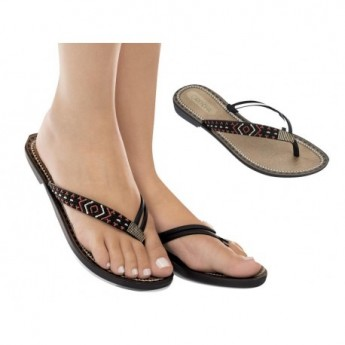 ACAI VI black flat finger sandals for woman