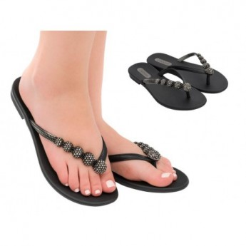 CACAU RAST black flat finger sandals for woman