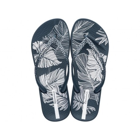 ANAT NATURE III F blue floral print flat finger flip flops for woman