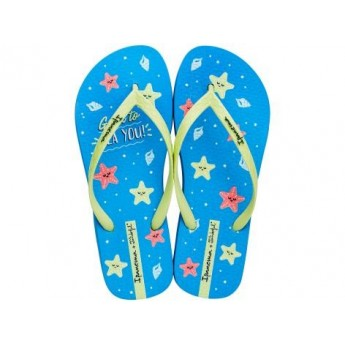 + MR WONDERFUL blue fantasy print flat finger sandals for woman