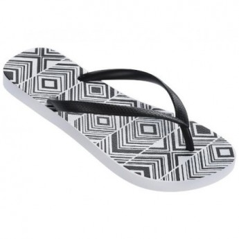 BASIC PRINT white geometric shapes print flat finger flip flops for woman