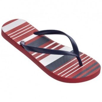 BASIC PRINT blue and red geometric shapes print flat finger flip flops for woman