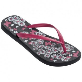 BASIC PRINT black and pink floral print flat finger flip flops for woman