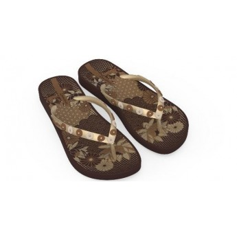 ANAT LOVELY VIII brown floral print flat finger flip flops for woman