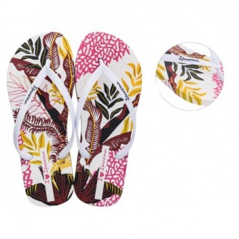 ACQUA chanclas de dedo planas de mujer con estampado tropical blanco