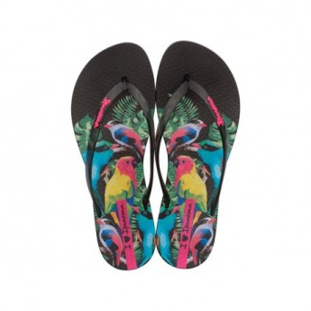 WAVE NATURAL black tropical print flat finger flip flops for woman