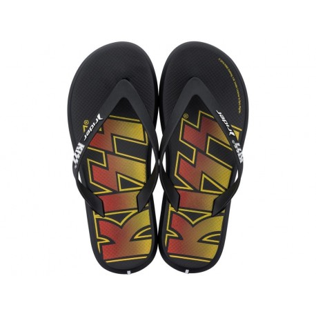 RIDER KISS black flat finger flip flops for man