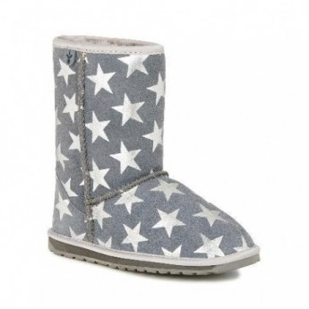 STARRY NIGHT grey fantasy print flat closed boots for girl