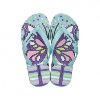 TEMAS XIII green fantasy print flat finger flip flops for girl