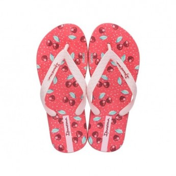 TEMAS IX red fantasy print flat finger flip flops for girl