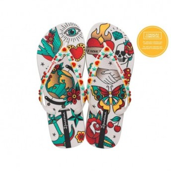 SEM IGUAL TATTOO beige fantasy print flat finger flip flops for woman