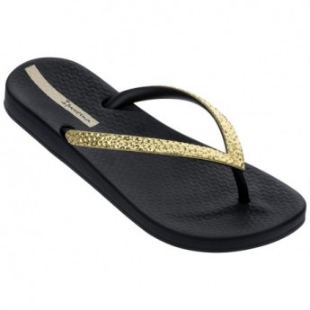 MESH V black flat finger flip flops for woman