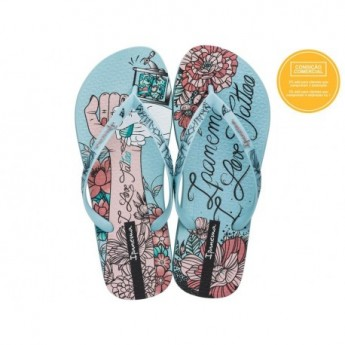 SEM IGUAL TATTOO green fantasy print flat finger flip flops for woman