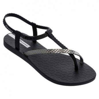 CLASS WISH II black flat finger sandals for woman