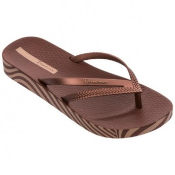 BOSSA SOFT V brown flat finger flip flops for woman