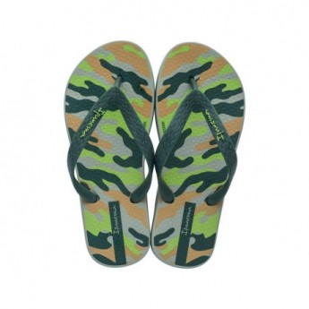 CLASSIC IX green urban print flat finger flip flops for child