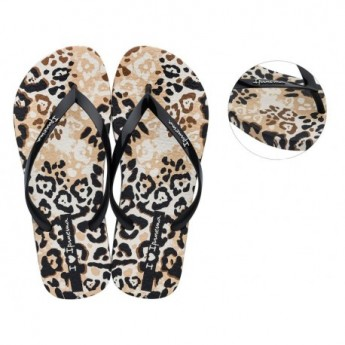 I LOVE SAFARI beige animal print flat finger flip flops for woman