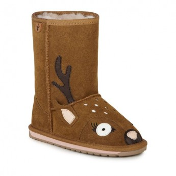 DEER WALKER brown flat closed boots for girl
