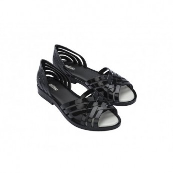 FLORA black flat open sandals for woman