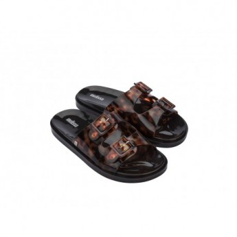 WIDE black flat shovel sandals for woman