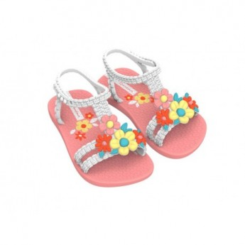 VI pink flat crab sandals for baby