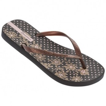 CLASSICA HAPPY VI brown floral print flat finger flip flops for woman