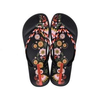ANAT LOVELY X black floral print flat finger flip flops for woman