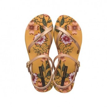 FASHION SAND VIII yellow floral print flat finger sandals for woman