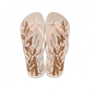 ANAT NATURE IV beige floral print flat finger flip flops for woman