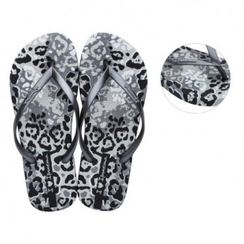 I LOVE SAFARI chanclas de dedo planas de mujer con estampado animal print gris