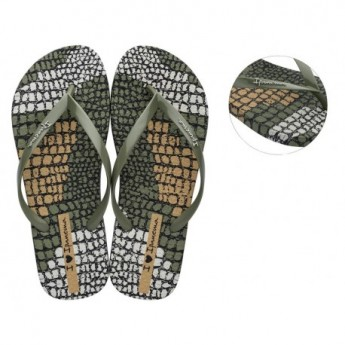 I LOVE SAFARI chanclas de dedo planas de mujer con estampado animal print verde