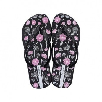 CLASSICA HAPPY VIII black floral print finger flip flops for woman