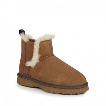 THRESHER brown flat closed boots for woman
