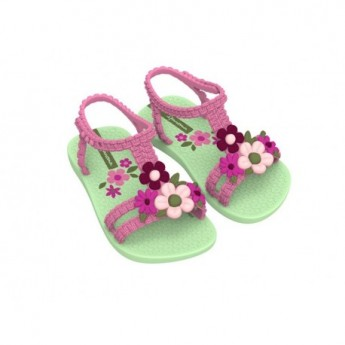 VI green floral print flat crab sandals for baby