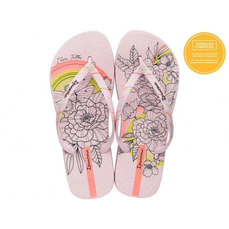SEM IGUAL TATTOO pink fantasy print flat finger flip flops for woman