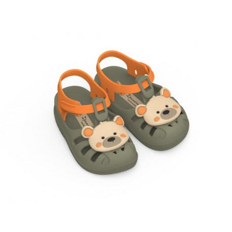 SUMMER VII green flat crab sandals for baby
