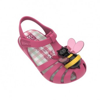 BEE pink flat crab sandals for baby
