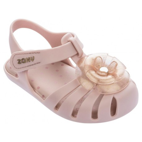 ROSE pink flat crab sandals for baby