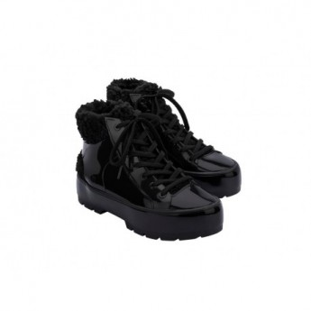 FLUFFY SNEAKER black flat closed boots for woman