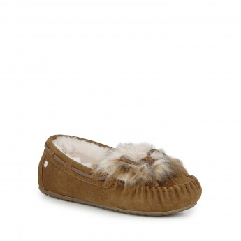 AMITY RESERVE LAVA brown flat closed slippers for woman