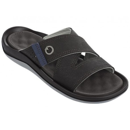 SANTORINI II brown and grey flat open sandals for man
