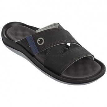 SANTORINI II brown and grey flat shovel sandals for man